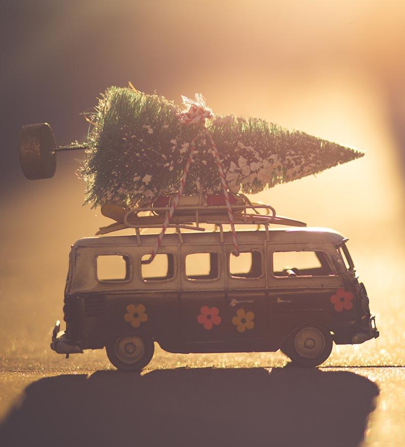 Modell-Bulli mit Tannenbaum auf dem Dach.